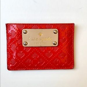 Kate Spade Red Patent and Leather Card Holder